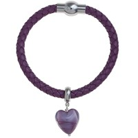 Martick Bohemian Glass Heart Woven Leather Bracelet Purple