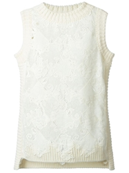 Ermanno Scervino Crochet Lace Knit Vest White
