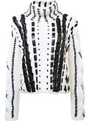 Altuzarra Woven Leather Sweater White