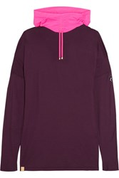 Monreal London Namaste Oversized Cotton Jersey And Stretch Jersey Hooded Top Grape