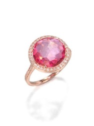 Suzanne Kalan Pink Topaz White Sapphire And 14K Rose Gold Cocktail Ring Rose Gold Pink