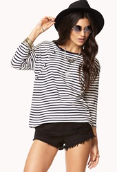 Forever 21 Nautical Button Striped Top Oatmeal Navy