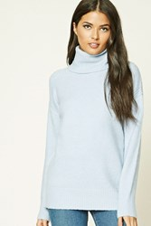 Forever 21 Contemporary Turtleneck Sweater Light Blue
