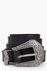 Boohoo Western Buckle Boyfriend Belt Black