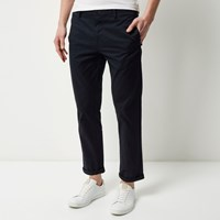 River Island Mens Navy Stretch Slim Cropped Chino Trousers