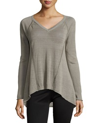 Lafayette 148 New York V Neck High Low Raglan Sweater Mica