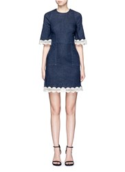 Nicholas Crochet Lace Denim Dress Blue