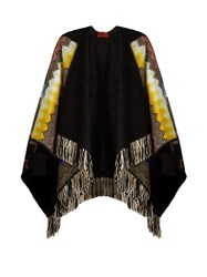 Missoni Fringed Zigzag Knit Hooded Cape Black Multi