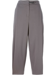 Emporio Armani Pleat Cropped Trousers Grey