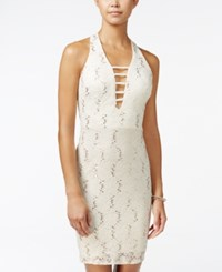 Morgan And Company Juniors' Sequin Lace Strappy Bodycon Dress Silver Ivory
