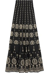 Alice Olivia Lysa Embroidered Cotton Voile Maxi Skirt Black