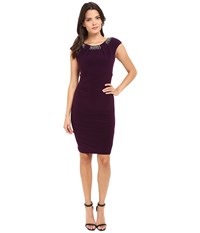 Vince Camuto Fitted Cap Sleeve Dress With Beaded Neckline Plum Women's Dress Purple