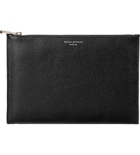 Aspinal Of London Large Essential Leather Flat Pouch Black
