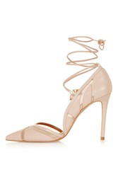 Topshop Gretchen Ankle Tie Courts Nude