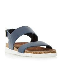 Dune Ice Pop Double Strap White Sole Sandals Navy