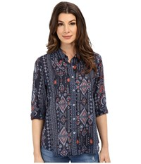 Dylan By True Grit True Tribal Long Sleeve Pintuck Blouse Indigo Women's Blouse Blue