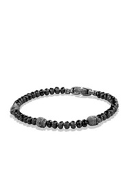 David Yurman Spiritual Beads Spinel And Sterling Silver Skull Station Bracelet Gunmetal Silver