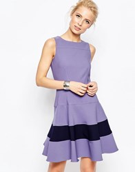 Closet Fit And Flare Dress With Contrast Band Lilac Purple