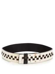 Palmer Harding Checkerboard Calf Hair Belt White Multi