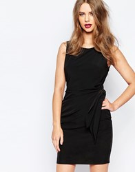Supertrash Dimitra Crepe Mini Dress With Rouched Side Black