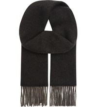 The Kooples Ethnic Jacquard Wool And Cotton Scarf Brown Black