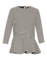 Preen Conix Striped Crepe Top Black White