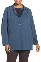 Eileen Fisher Plus Size Women's Notch Collar Felted Merino Knit Jacket Fir