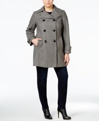 Anne Klein Plus Size Double Breasted Peacoat Only At Macy's Grey