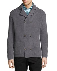 Robert Talbott Double Breasted Peacoat Sweater Jacket Graphite Grey