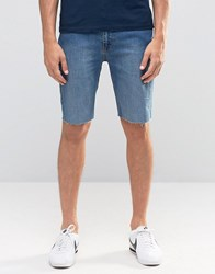 Kubban Stretch Spray On Denim Shorts In Raw Hem Blue