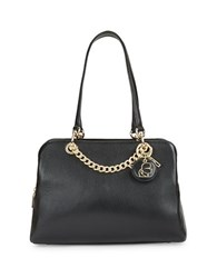 Karl Lagerfeld Pebbled Leather Satchel Black
