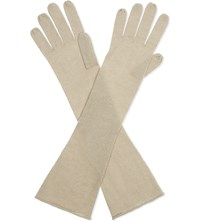 Cash Ca Long Cashmere Gloves Sand