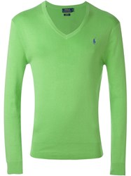 Polo Ralph Lauren V Neck Logo Sweater Green