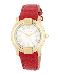 Escada Madelene Watch With Snake Embossed Leather Strap Red