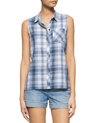 Calvin Klein Jeans Gradient Plaid Button Tank Jacaranda