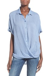 Women's Lush Surplice Short Sleeve Shirt Denim