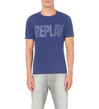 Replay Logo Cotton Jersey T Shirt Royal