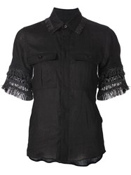 Toga Pulla Fringed Trim Shirt Black