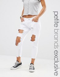 Liquor And Poker Petite Skinny Jeans With Extreme Distressing Ripped Knees White