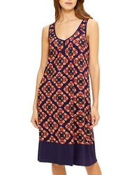Ellen Tracy Medallion Patterned Nightgown Blue Orange Multi