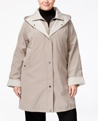 Jones New York Plus Size Water Resistant Hooded Raincoat Desert Sand
