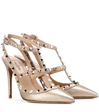Valentino Rockstud Metallic Leather Pumps Gold