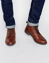 Firetrap Lace Up Military Boots Brown