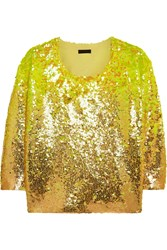 J.Crew Collection Sequined Merino Wool Sweater Yellow