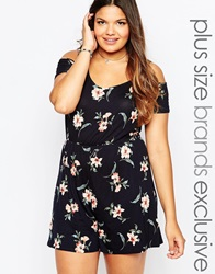 New Look Inspire Floral Print Playsuit Multi