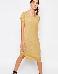 Selected Ivy Knee Length Dress In Yellow Melange Old Gold