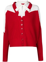 Viktor And Rolf Insert Bow Neck Ribbed Cardigan Red