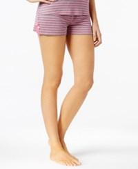 By Jennifer Moore Striped Knit Boxer Pajama Shorts Only At Macy's Pink Grey Stripe