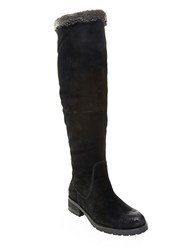 Steve Madden Chille Faux Fur Lined Suede Boots Black