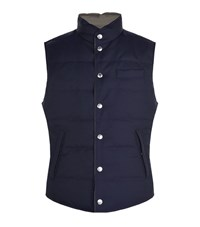 Brunello Cucinelli Reversible Wool And Nylon Down Gilet Male Navy